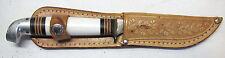 "Vintage Western Boulder CO Knife in Sheathe White Celluloid Handle 8"" USA"