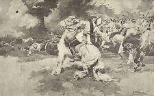 A1101 Fanteria russa lancia bombe contro trincee giapponesi - Stampa del 1904