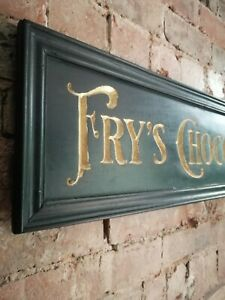 FRYS CHOCOLATE sign carved wood gold black period vintage style wood sign VAC268