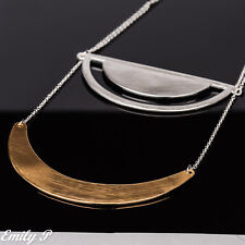 Statement Necklace Silver Gold Tone Hand Finished Abstract Necklace
