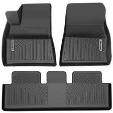 Oedro Floor Mats Liners Tpe for Tesla Model 3 2017-2020 All-Weather Black F&R