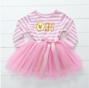 size 1 year toddler girls dress pink & white striped 'one heart'  tulle dress