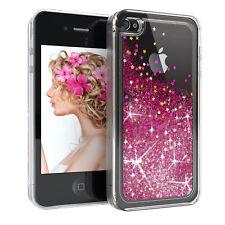 Für Apple iPhone 4 Glitzer Hülle Flüssig Silikon Case Handy Cover Tasche Pink
