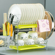 2-Tier Dish Rack Holders Chrome Cup Dish Drying Rack Drainer Home Kitchen,AU