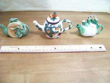 Lot of 3 Mini Teapots - Fruit & Vegetable Shapes - Strawberry, Melon, Onion