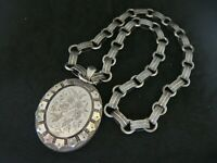 LARGE ANTIQUE VICTORIAN 1881 SILVER AESTHETIC LOCKET & BOOK CHAIN COLLAR 18 INS