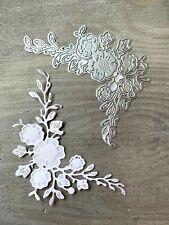 Stanzschablone/ Cutting dies Blumenranke Ecke gepresste Blütenblätter, 8x11 cm
