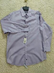 Hart Schaffner Marx Mens Shirt 16/33 Pima Cotton Striped Purple Long Sleeve 1271