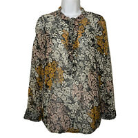 H&M Womens Floral Blouse Long Sleeve Career Sheer Top 1/2 Button Size 4 Small