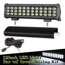 12inch LED Driving Light Bar + Wiring&Cover Spot Flood Combo Offroad SUV 12V 24V