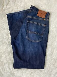 Lucky Brand Relaxed Straight Faded Dark Wash Blue Denim Jeans Men's Size 31/30