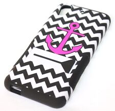 For HTC Desire 626 626S - HARD&SOFT RUBBER HYBRID CASE COVER PINK ANCHOR CHEVRON