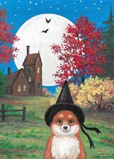 ACEO PRINT OF PAINTING RYTA HALLOWEEN FOX WITCH LANDSCAPE BATS AUTUMN FOLK ART