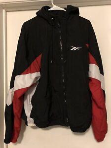 Vintage Reebok Windbreaker Jacket Nylon Spellout Logo Color Block Size Large