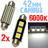 2 Ampoule Navette 42mm 6000k LED 5050 ODB Blanc Plafonnier coffre PLAQUE 2D11 2D