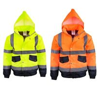 Mens Hi Vis Visibility Waterproof Bomber Hooded Jacket Safety Work Wear Winter