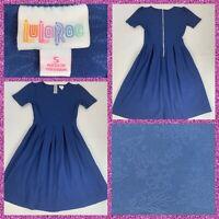 LuLaRoe Women's Size Small Amelia Dress Blue Floral Weave Stretch Pleated A-Line