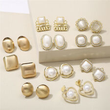 Fashion Crystal Zircon Pearl Earrings Dangle Ear Stud Women Wedding Jewelry Gift