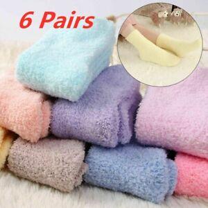 6 Pairs Winter Warm Ladies Girls Soft Fluffy Bed Sock Lounge Slipper Fleece Sock