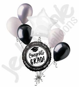 7 pc Black & White Celebrate Success Grad Balloon Bouquet Happy Graduation