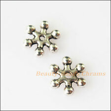 50 Tiny Snowflake Flower Charms Tibetan Silver Tone Spacer Beads 8mm