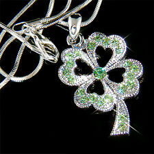 ~4 Leaf Clover~ made with Swarovski Crystal Irish St Patrick's Shamrock Necklace