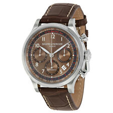 Baume and Mercier Capeland Chronograph Brown Dial Brown Leather Mens Watch 10043