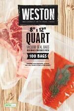 "New listing New Weston 8"" x 12"" Quart Vacuum Seal Bags (100 ct) 30-0101-W"