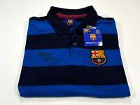 FCB Barcelona M Men's Polo Blue Black Stripe Since 1899 Rugby Medium NEW NWT