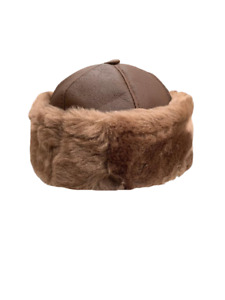 Unisex Aviator Bomber Trapper Beanie Leather Shearling Sheepskin Fur Hat 6 color