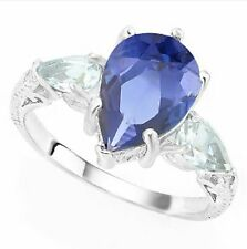 TANZANITE  AQUAMARINE & DIAMOND 4.41  SILVER RING VERY LARGE SETTING MOTHERS DA