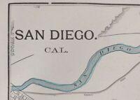 "Vintage 1902 SAN DIEGO CALIFORNIA Map 11""x14"" ~ Old Antique Original BURLINGAME"
