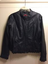 Black Polyurethane Faux Leather Feminine Moto Jacket With Ruffle Hem Size L