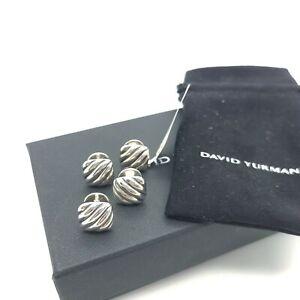 David Yurman Sterling Silver Cushion Cable Tuxedo Shirt Stud Set of 4 Pouch Box