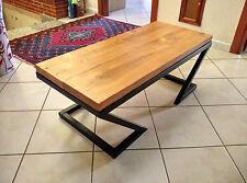 Tavolino da caffe stile industrial artigianato industriale nero rovere chiaro
