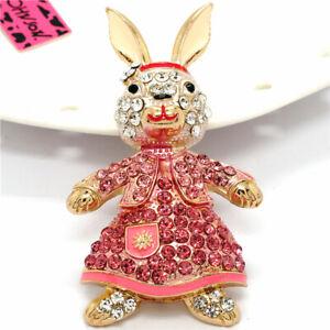 Betsey Johnson Cute Rhinestone Rabbit Lady Dress Crystal Charm Brooch Pin Gift