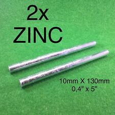 2x Pure Zinc Rods Purity Zn 99.9% Anode Metal Plating Round Bar 10mmx130mm