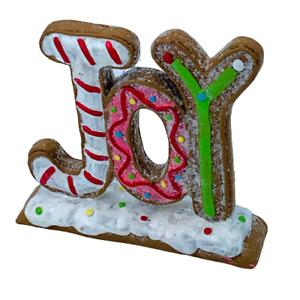 Ginger Bread Style JOY Christmas Shelf or Table Decoration