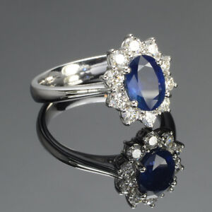 Certified 18K White Gold 3.40 Ct Natural Diamond Blue Sapphire Gemstone Ring 7 8