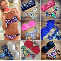Women Swimwear Bandage Bikini Set Push-up Padded Bra Bathing Suit Swimsuit