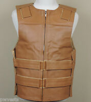 Ladies Bulletproof Style Motorcycle Vest Harley Orange Leather 4XL
