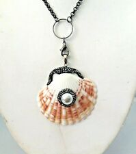 Pave Cz Pendant Necklace 33810 Carved Brown White Shell Synthetic Pearl