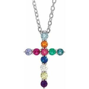 14k White Gold Multi-Gemstone Cross Necklace