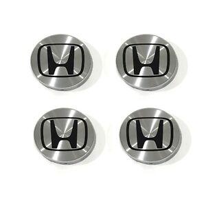 4Pc Honda Aluminum Silver Black Wheel Cap Hub Center 69mm 2.75 Fit Accord Civic