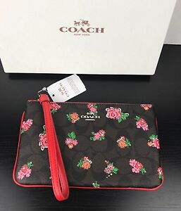 NWT Coach Floral Printed Pvc Large Wristlet In Black And Red Color