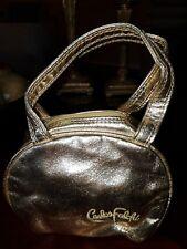 CARLOS FALCHI Gold Metallic Faux Leather Small Hand Purse/ Cosmetic Bag ~ NWT!