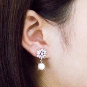 Gorgeous 14k White Gold Filled Drop Earrings for Women White Pearl Earrings