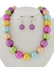 MULTI COLOR FAUX PEARL NECKLACE EARRING SET