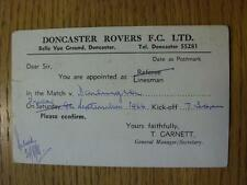 09/09/1966 Appointment Card Referee/Linesman: Doncaster Rovers v Darlington