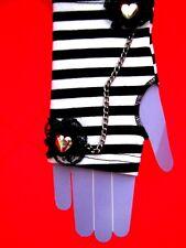 Black & white stripe lace chain heart fingerless gloves Burlesque dance punk new